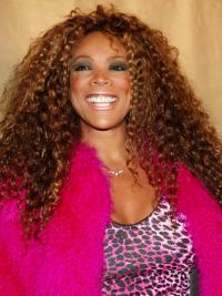 Wendy Williams Wigs Remy Human Lace Front Auburn Color Kinky Style