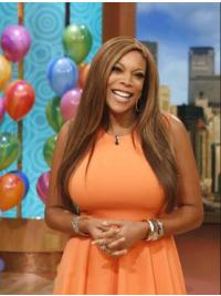 """Synthetic 24"""" Long Brown Without Bangs Straight Capless Wendy Williams Wigs"""