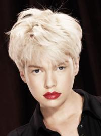 "Monofilament Boycuts Short Straight 8"" Platinum Blonde Durable Fashion Wigs"