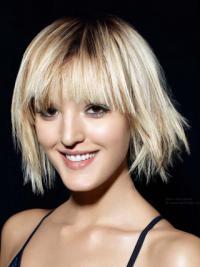 "Monofilament Bobs Chin Length Straight 12"" Blonde Fashionable Fashion Wigs"