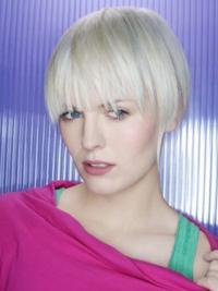 "Capless Grey Short Straight 8"" Beautiful Fashion Wigs"