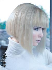 """Lace Front Bobs Chin Length Straight 12"""" Platinum Blonde No-Fuss Fashion Wigs"""