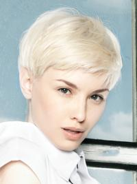 Lace Front Wig Platinum Color Short Length Straight Style Boycuts