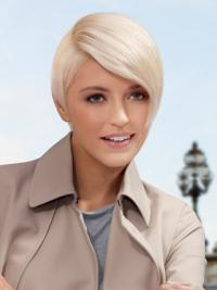 """Lace Front Boycuts Short Straight 8"""" Platinum Blonde Style Fashion Wigs"""