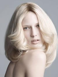 """Lace Front Without Bangs Shoulder Length Wavy 14"""" Platinum Blonde New Fashion Wigs"""