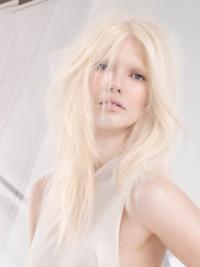 """Lace Front Without Bangs Long Straight 18"""" Platinum Blonde Soft Fashion Wigs"""