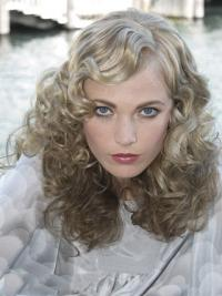 "Lace Front Grey Shoulder Length Curly 16"" Durable Fashion Wigs"