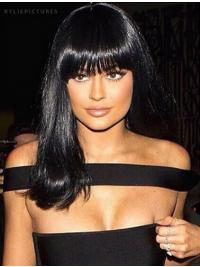 """Style 14"""" Long Straight With Bangs Lace Front Kylie Jenner Wigs"""