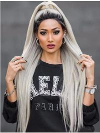 """38"""" Lace Front Long Synthetic Grey Without Bangs Wigs"""